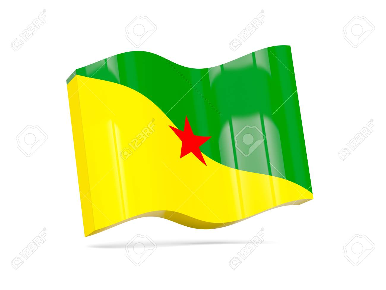 フランス領ギアナの旗の波のアイ...