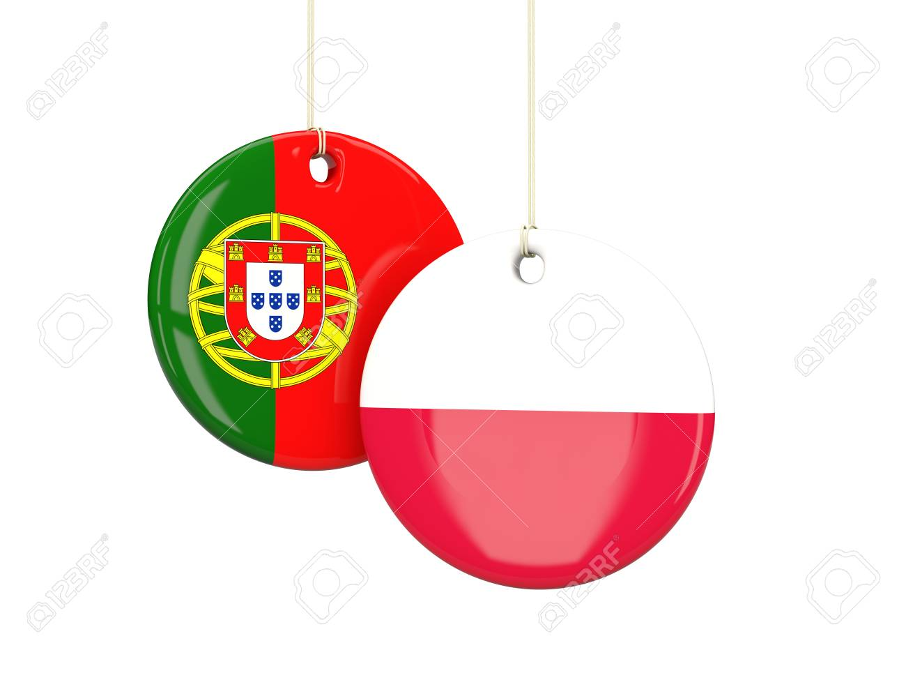 Poland And Portugal Soccer Teams Round Labes 3d Illustration Stock