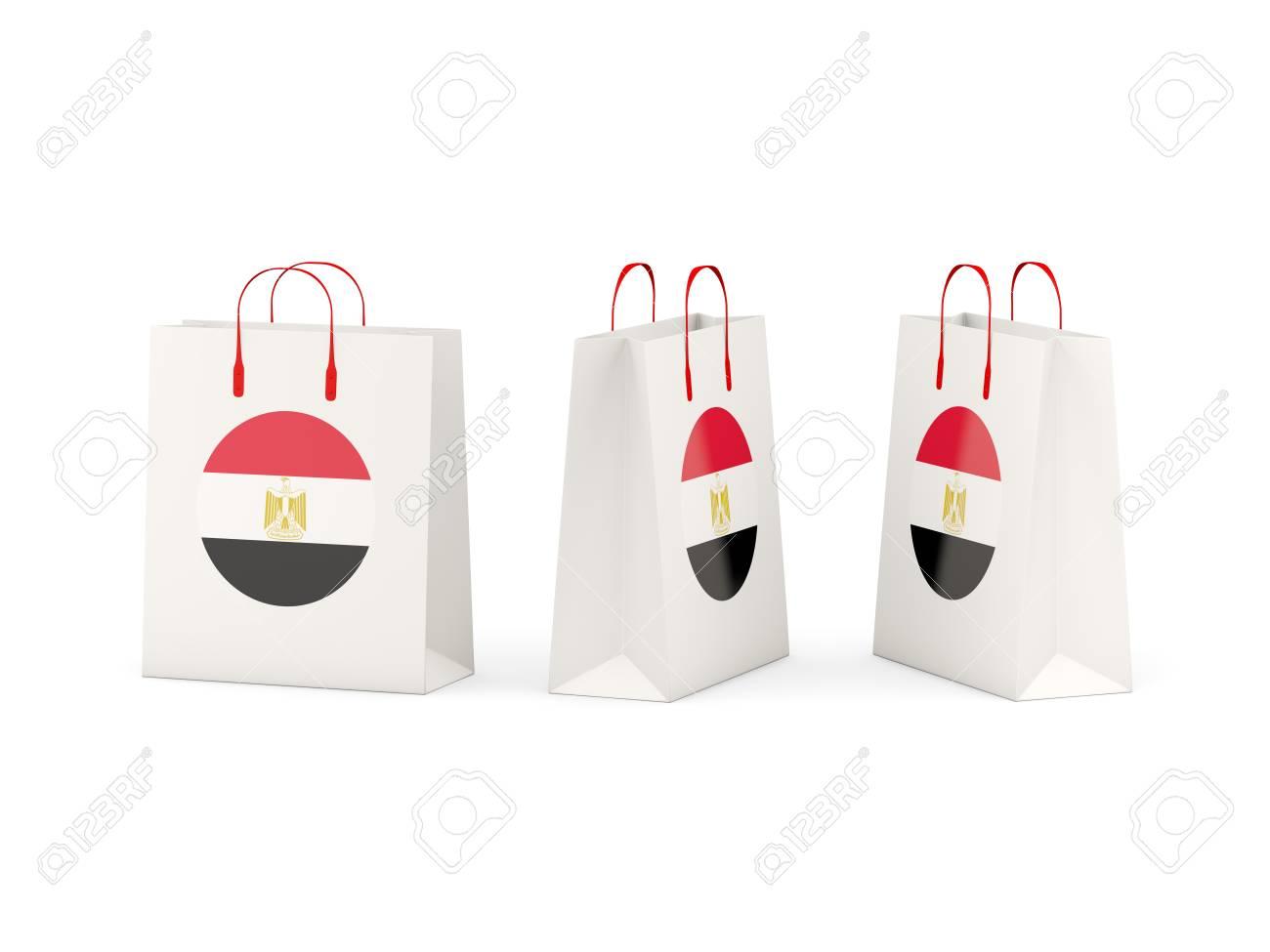 Round Flag Of Egypt On Shopping Bags 3d Illustration Stock Photo