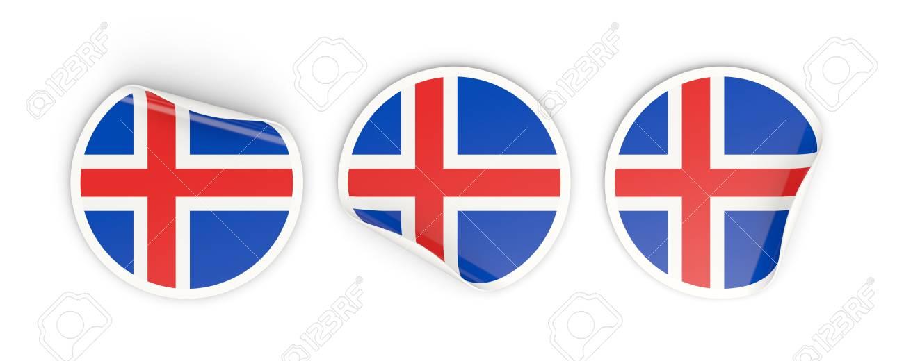 vlag van ijsland, drie ronde etiketten geïsoleerd op wit. 3d