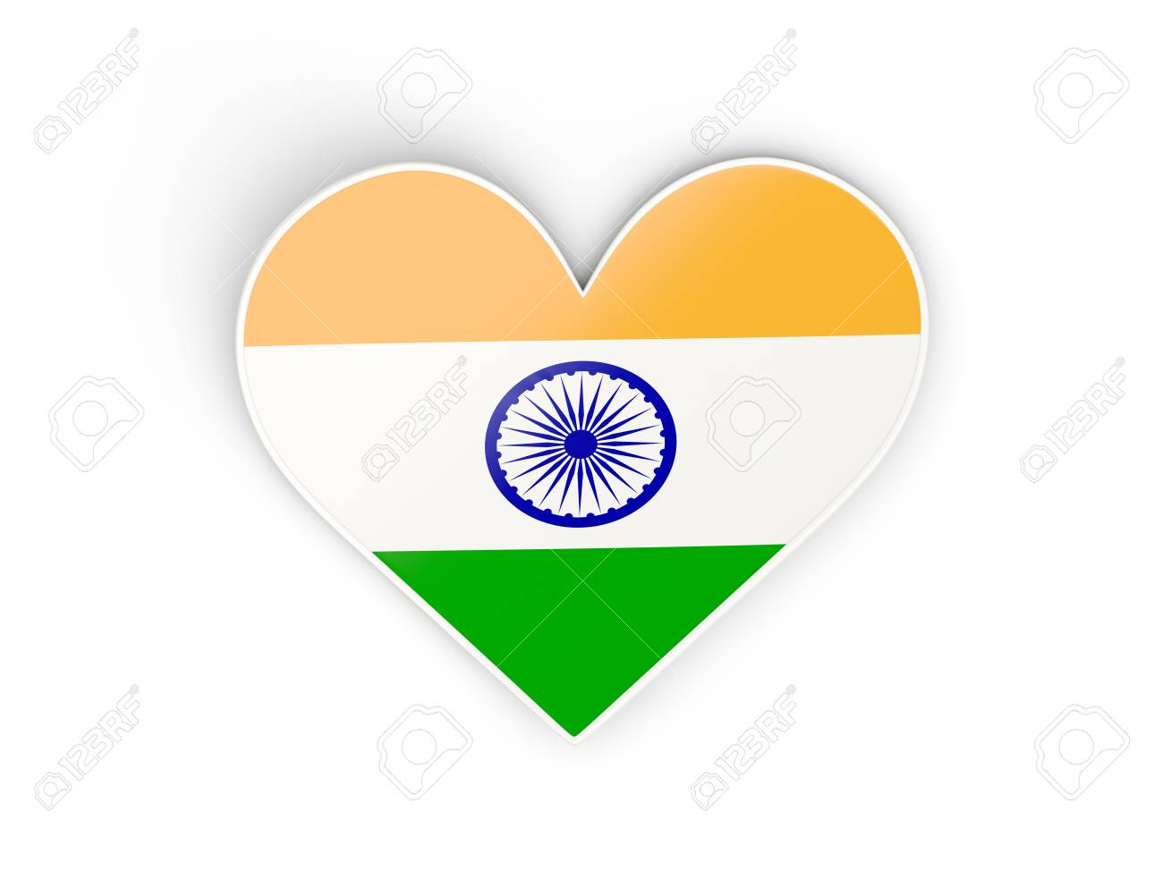 Flag of india heart shaped sticker isolated on white 3d illustration stock illustration