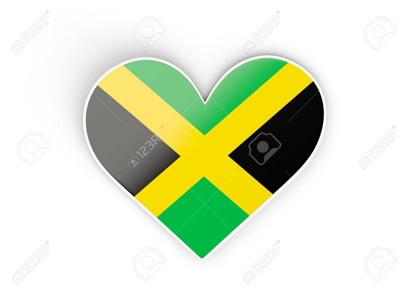 Flag of jamaica heart shaped sticker isolated on white 3d illustration stock illustration