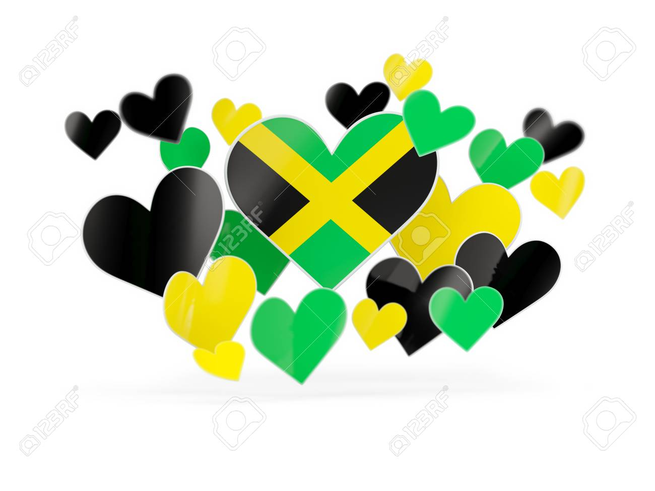 Flag of jamaica heart shaped stickers on white 3d illustration stock illustration 63658505