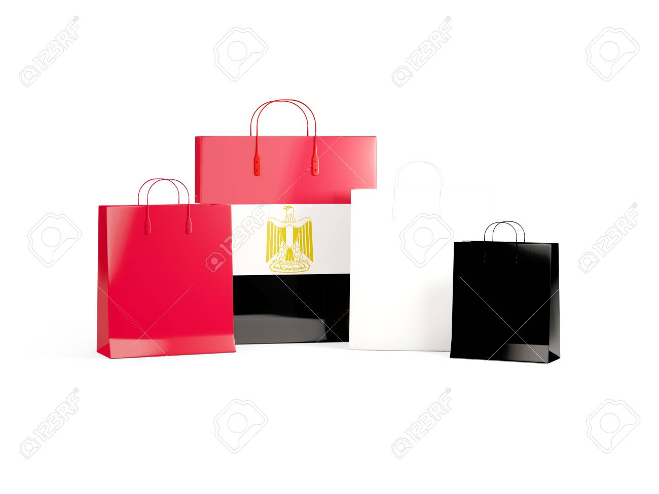 Flag Of Egypt On Shopping Bags 3d Illustration Stock Photo Picture