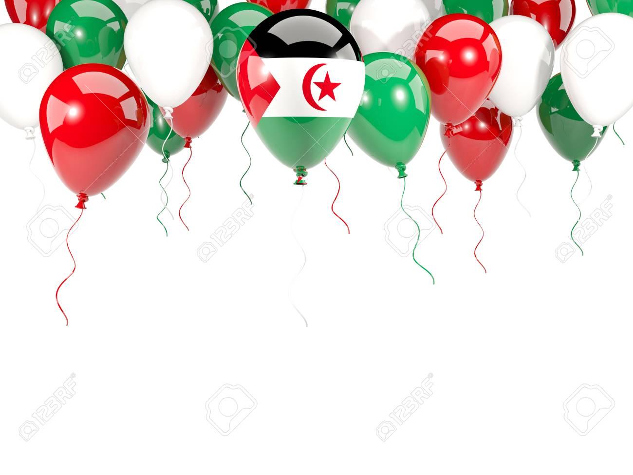 Bandera Del Sáhara Occidental, Con El Marco De Los Globos Aislado En ...