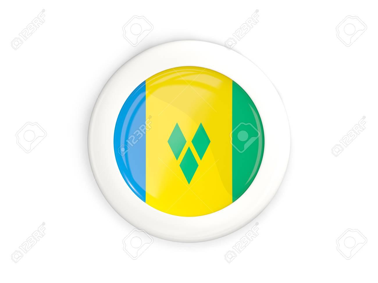 Flagge Von St. Vincent Und Von Grenadinen, Glatter Runder Knopf Mit ...