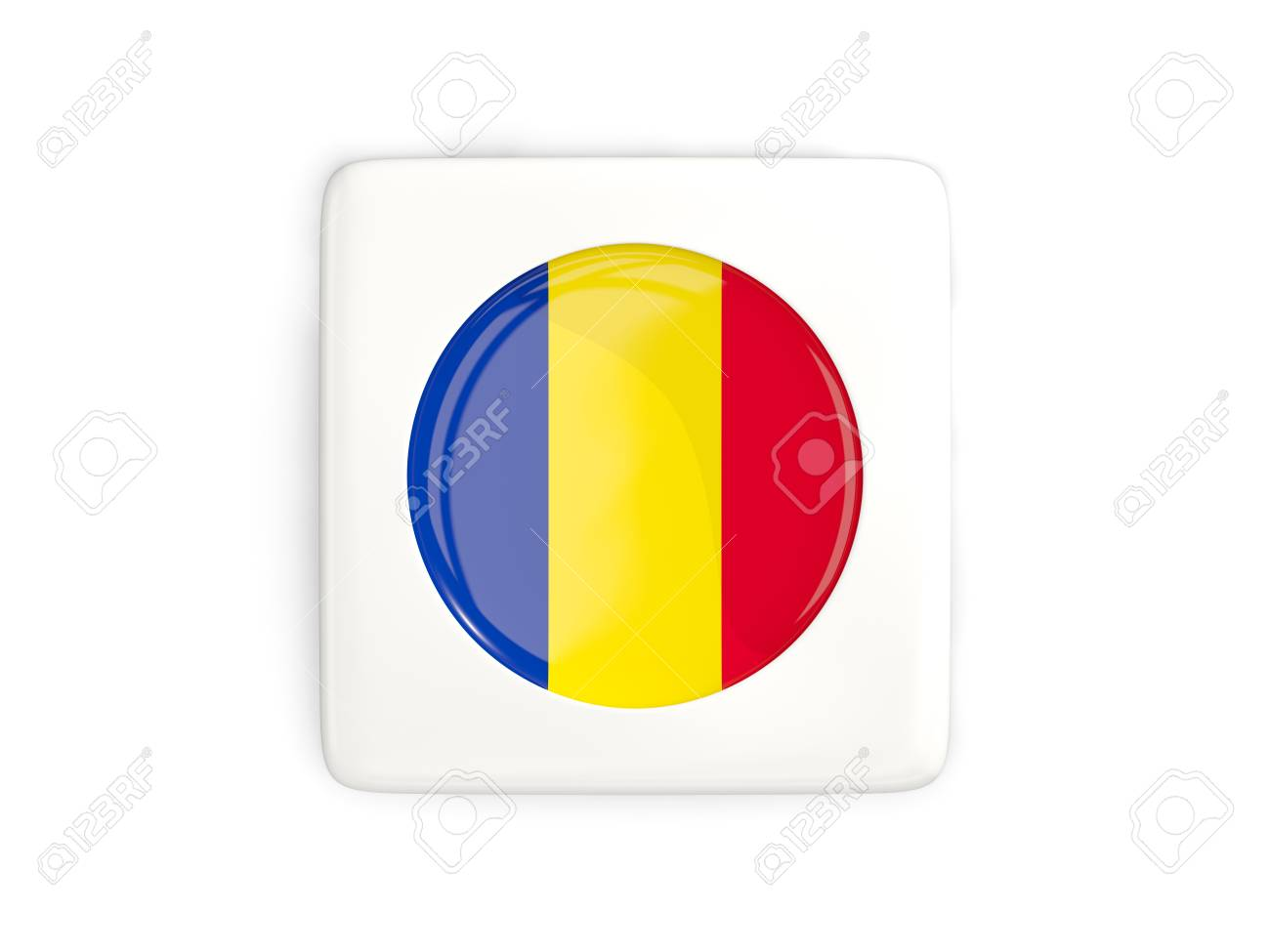 Drapeau Rond bouton carré avec un drapeau rond de roumanie isolé sur blanc