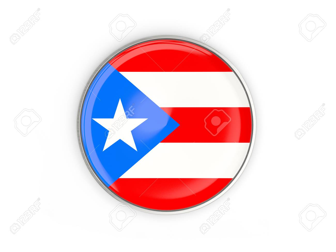 Flag Of Puerto Rico, Round Icon With Metal Frame Isolated On.. Stock ...