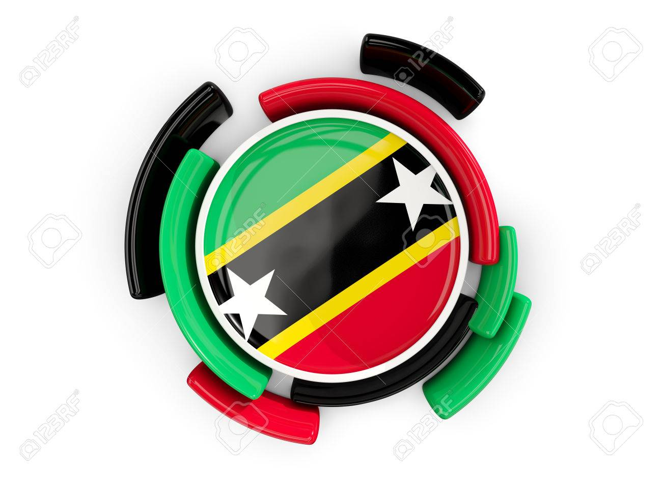 round flag of saint kitts and nevis with color pattern isolated