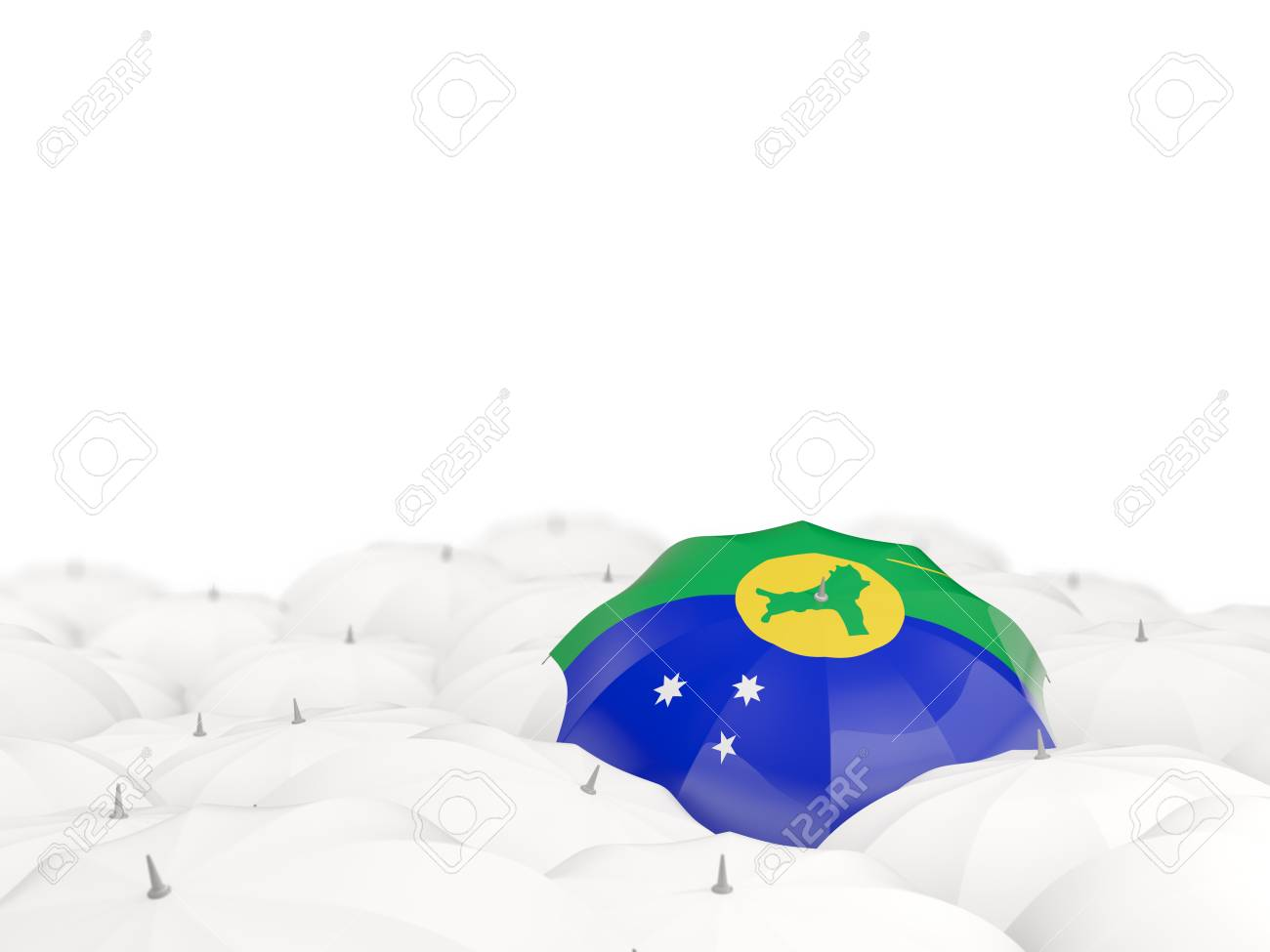Umbrella With Flag Of Christmas Island Isolated On White. 3D.. Stock ...