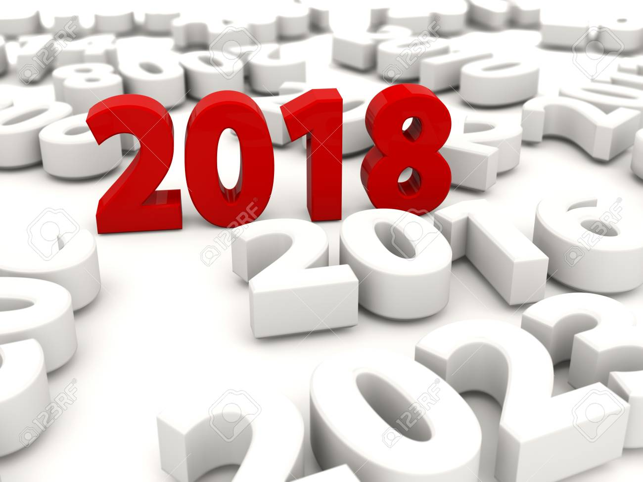 2018 Happy New Year Symbol With Other Years 3d Illustration Fotos