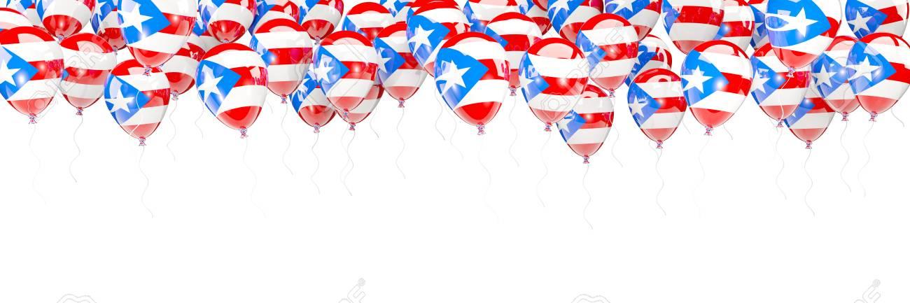 Ballonrahmen Mit Der Flagge Von Puerto Rico Lokalisiert Auf Weiß. 3D ...