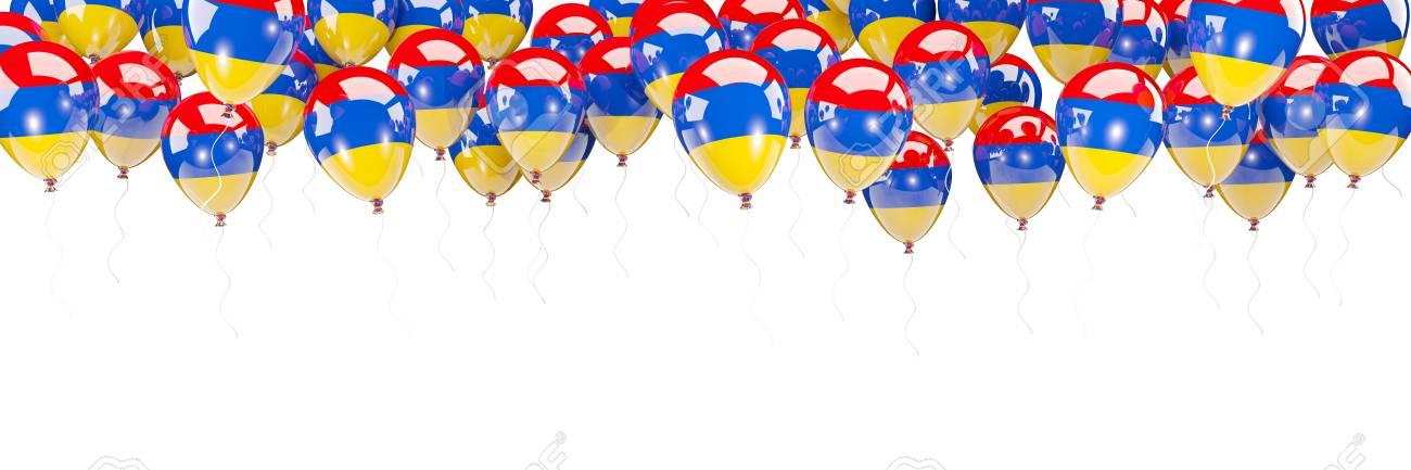 Ballonrahmen Mit Der Flagge Von Armenien Lokalisiert Auf Weiß. 3D ...