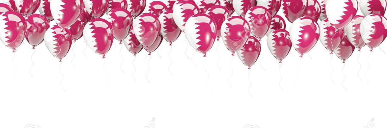 Ballonrahmen Mit Der Flagge Von Katar Lokalisiert Auf Weiß. 3D ...