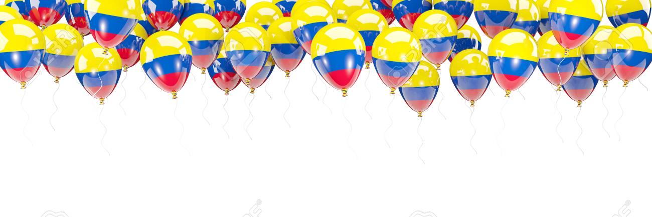 Ballonrahmen Mit Der Flagge Von Kolumbien Lokalisiert Auf Weiß. 3D ...