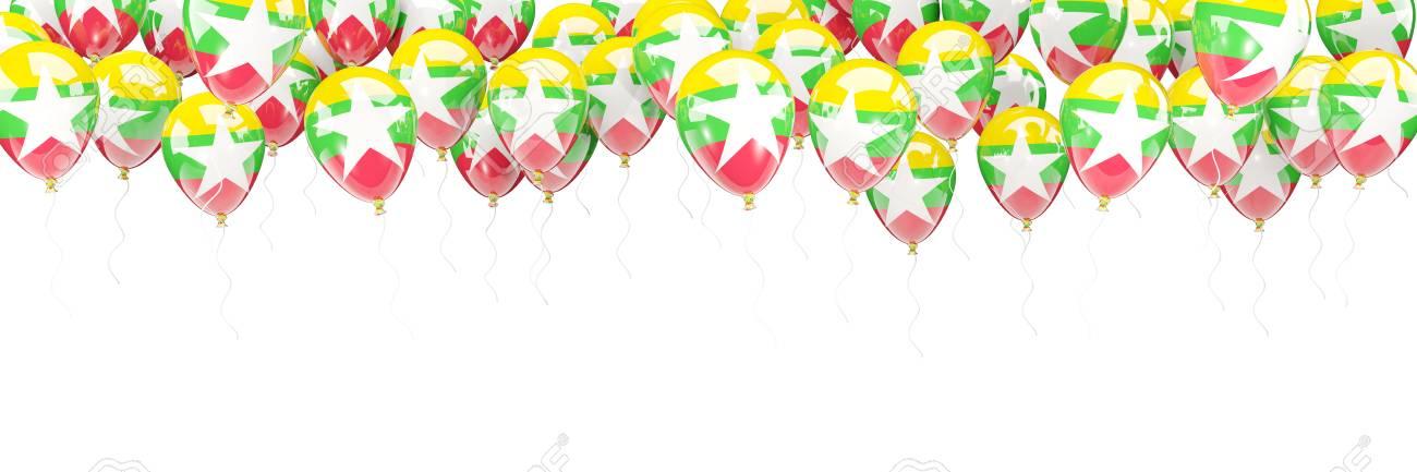 Ballonrahmen Mit Der Flagge Von Myanmar Lokalisiert Auf Weiß. 3D ...