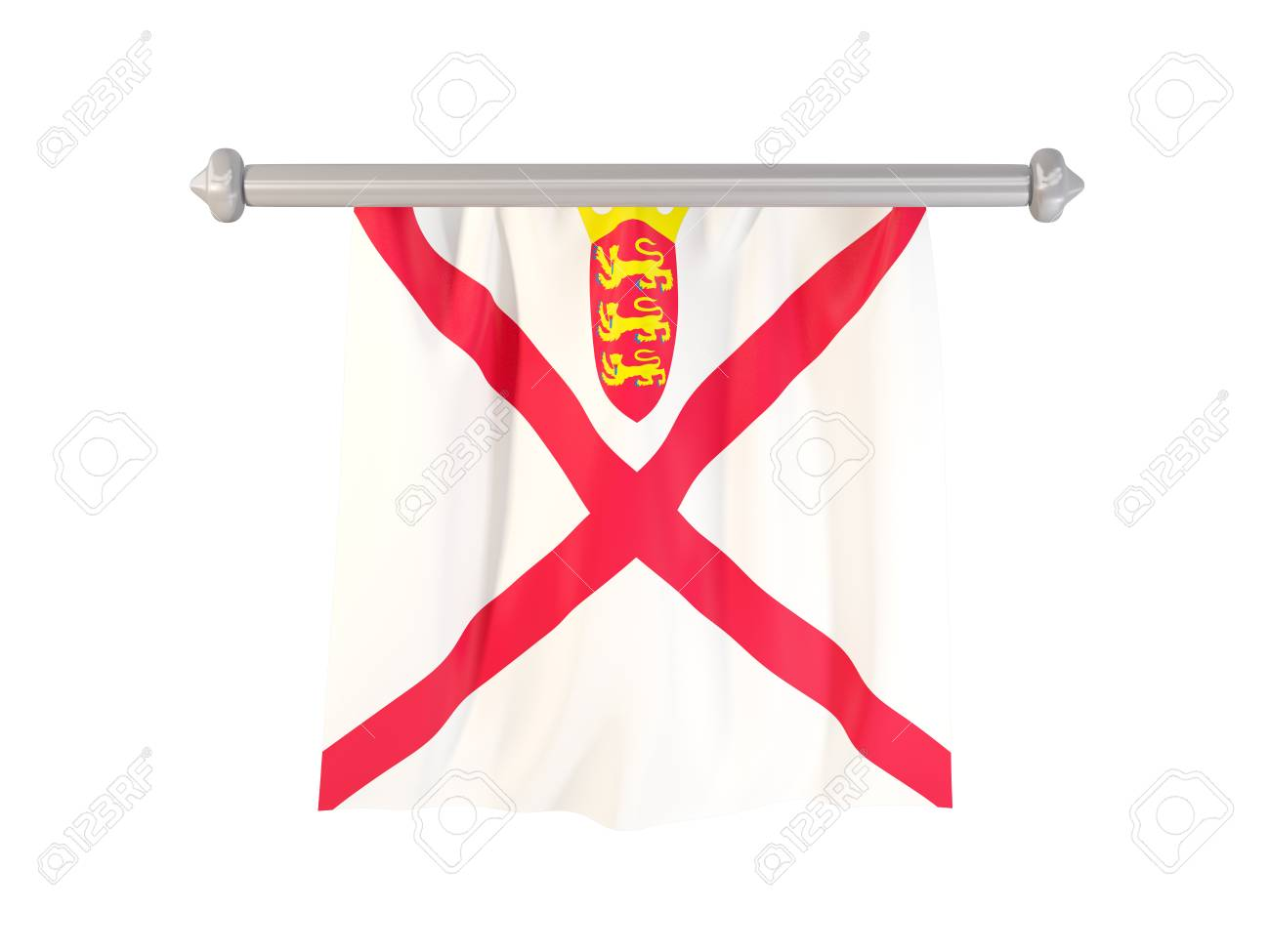 Pennant With Flag Of Jersey Isolated On White. 3D Illustration Stock ...