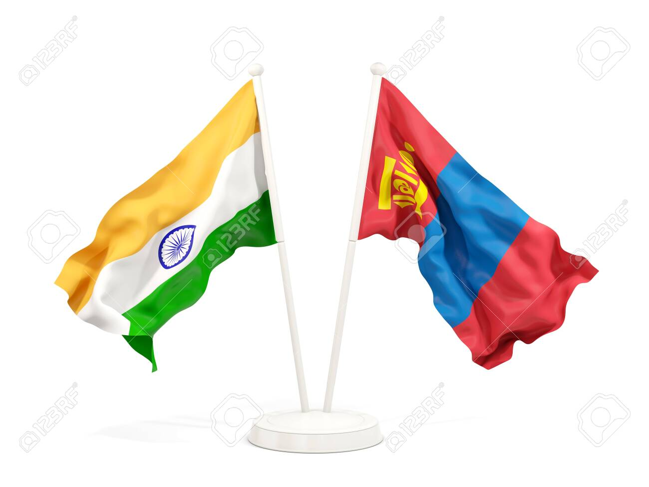Two Waving Flags Of India And Mongolia Isolated On White. 3D ...