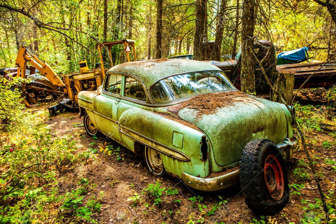 Kalispell - August 2: Old Cars And Trucks In The Junk Yards.. Stock ...