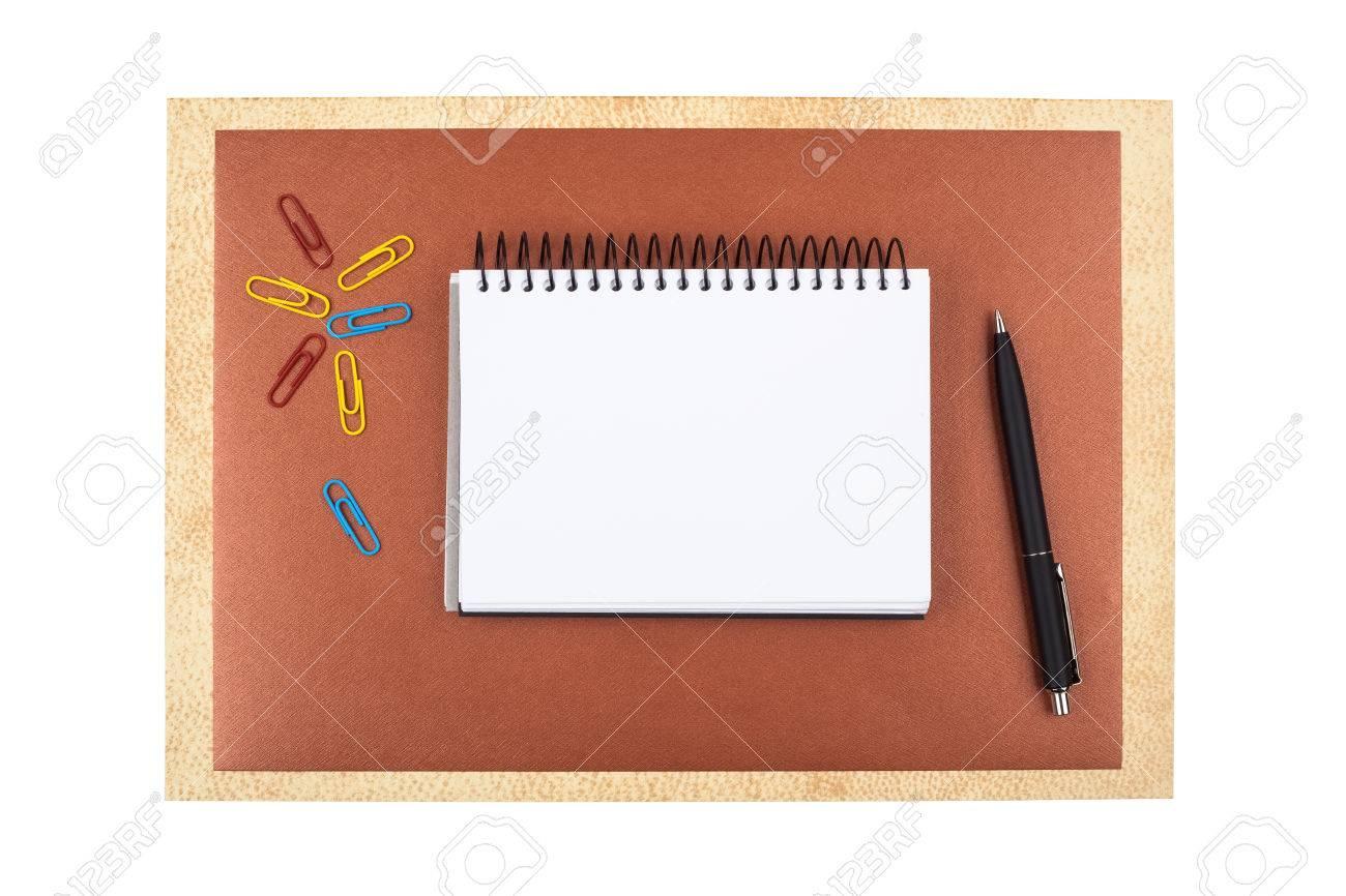 Bürozubehör Auf Braunem Strukturiertes Papier: Colored Büroklammern ...