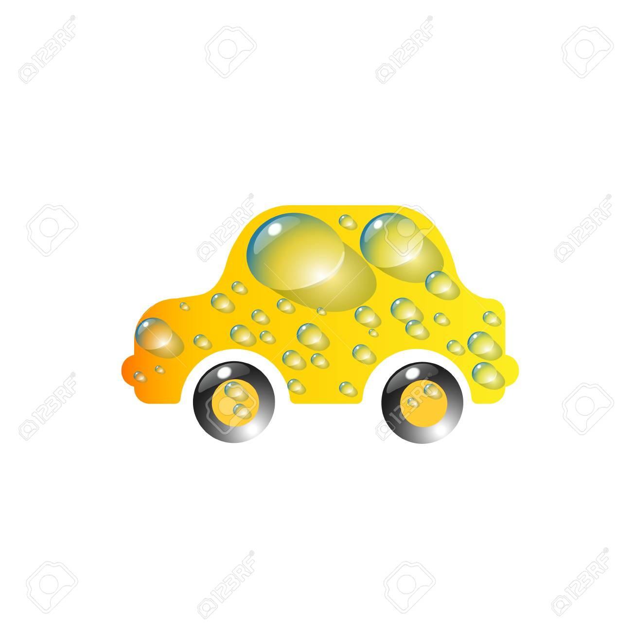 The Most Top End Toy Car Yellow Color In Drops Of Water Car