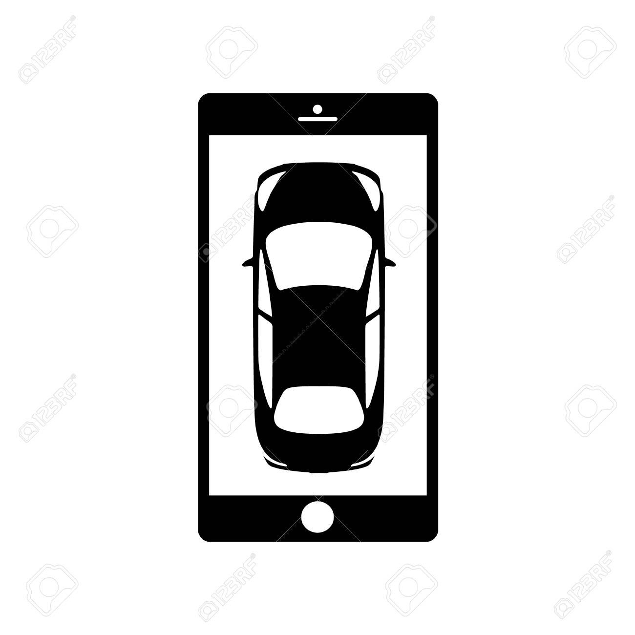 Black mobile app, night rent a car icon  Online rental service
