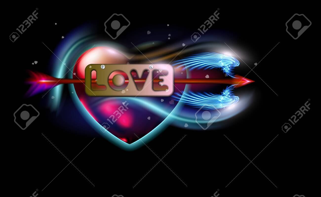 Glowing red fantasy arrow of Cupid pierced inscription love, heart. Amur attribute of Valentines day love, metal label with screws. Ardent illuminated, luxury glow colorful design vector illustration. - 122979836