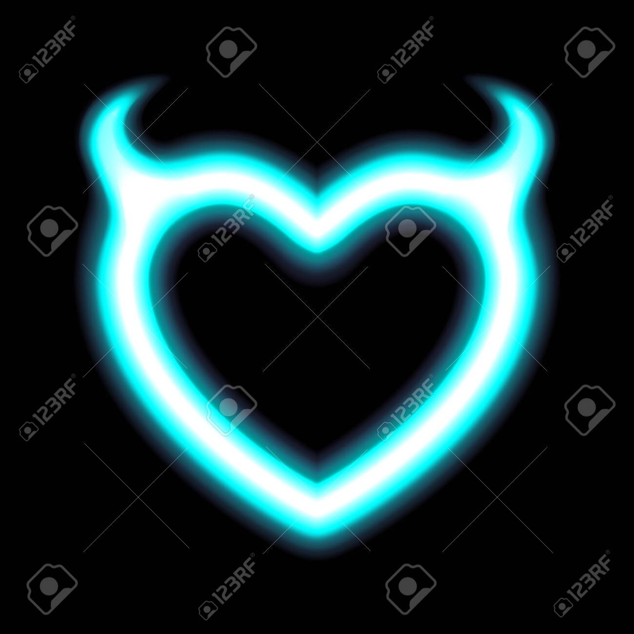 Heart Contour Neon Or Blue Glow Radiant Effect Of Love With Devil Royalty Free Cliparts Vectors And Stock Illustration Image 131951516