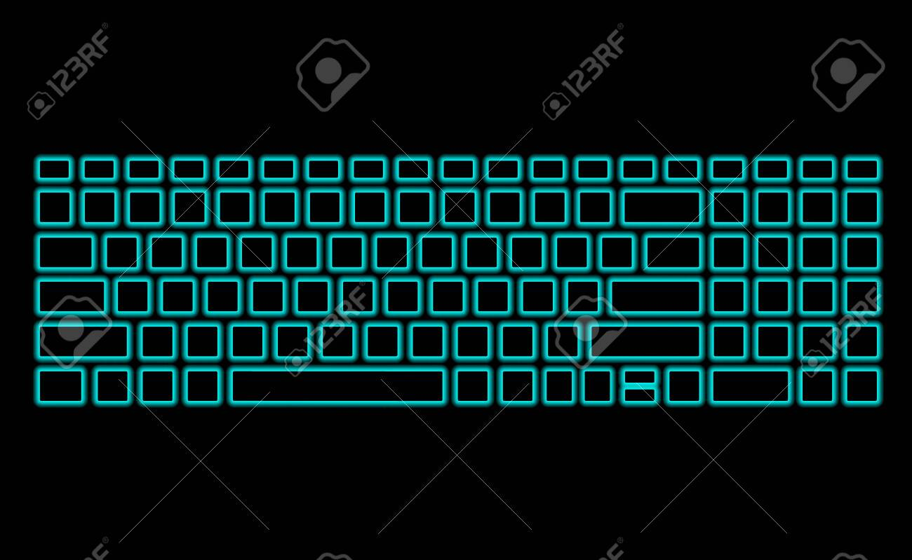 Computer Keyboard With Neon Backlight On Black Background Modern Royalty Free Cliparts Vectors And Stock Illustration Image 124600208