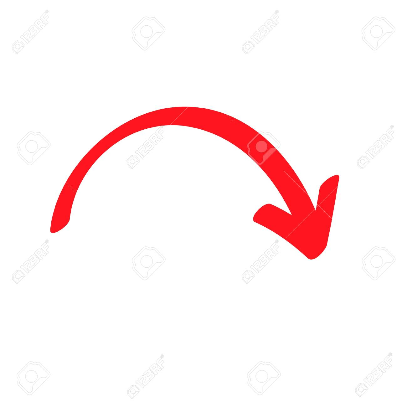 Red curved arrow sign, symbol and icon for business or website button decoration in isolated light background. - 133299884