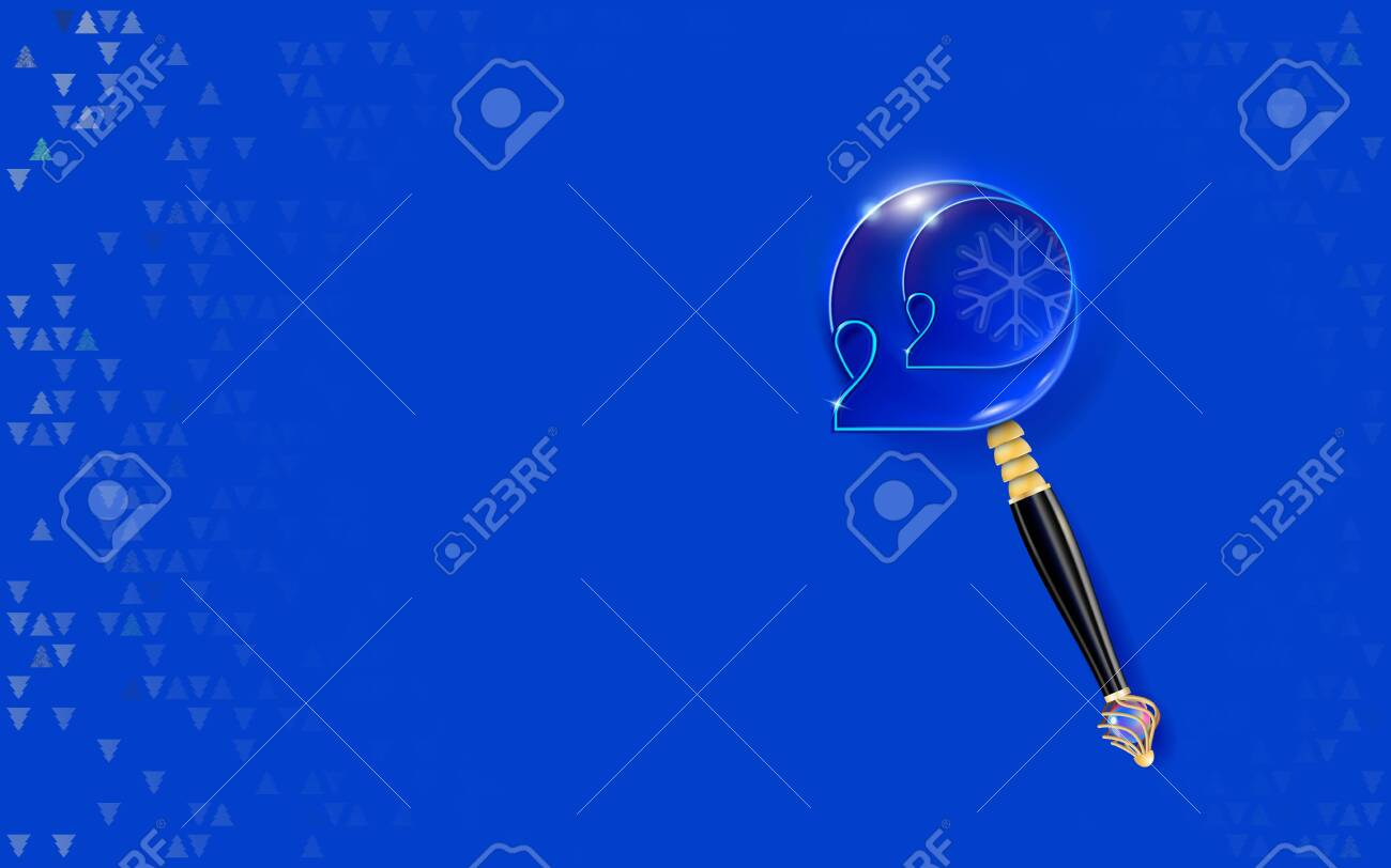 New year blue background. 2020 thin inscription on blue. Happy design with embossed carved numbers. Golden magnifying glass inlaid with pearls. Holiday banner invitation. - 138451883