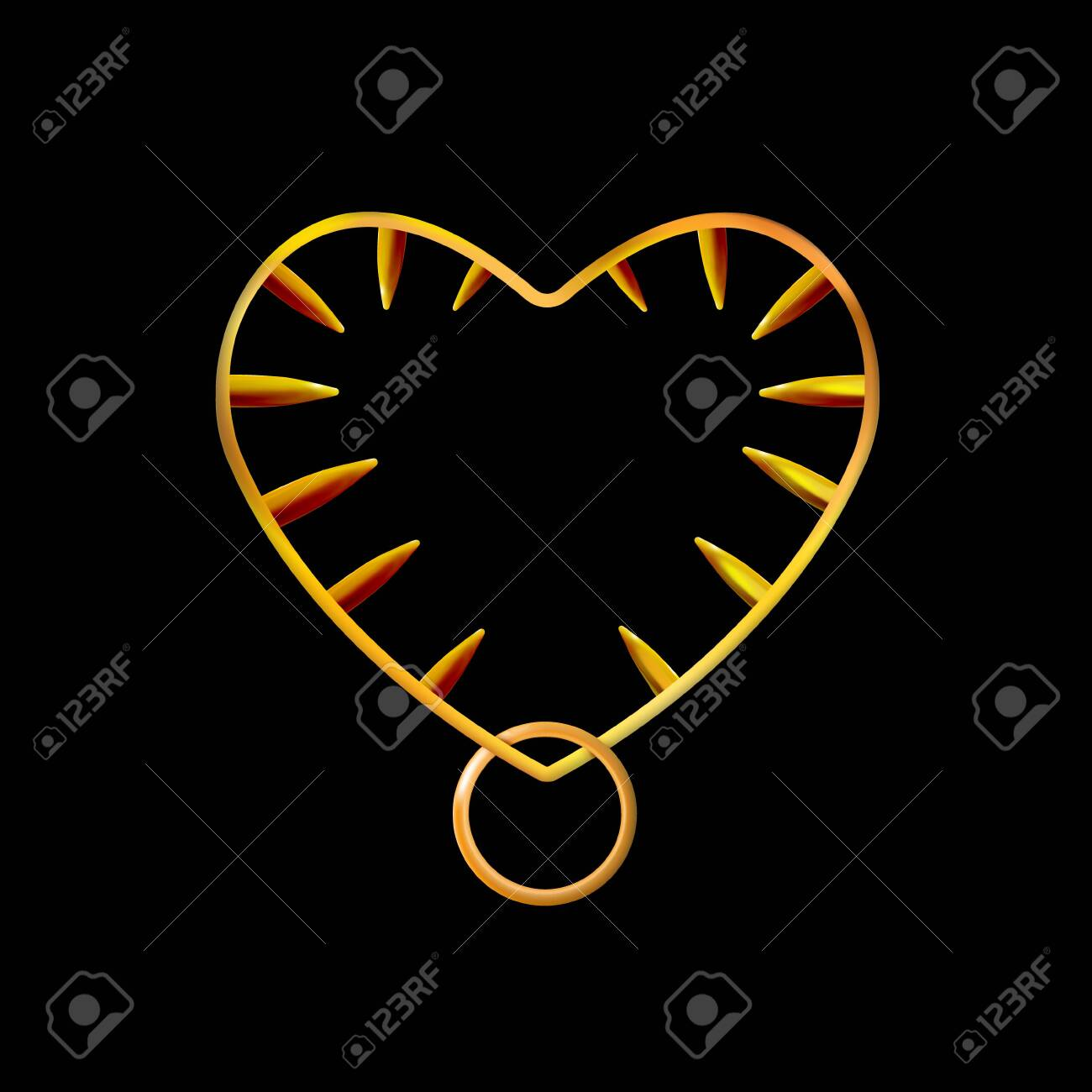 Golden heart shaped frame or collar, spiked. Gold jewelry isolated on black background. Vector illustration. - 137324957