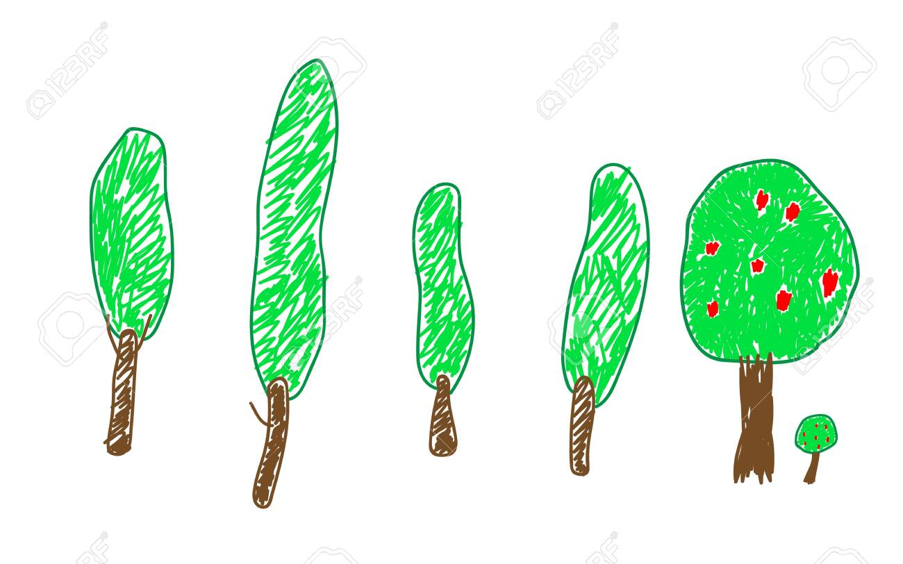 Set Tree And Appletree In A Deliberately Childish Style Imitation Royalty Free Cliparts Vectors And Stock Illustration Image 141301567