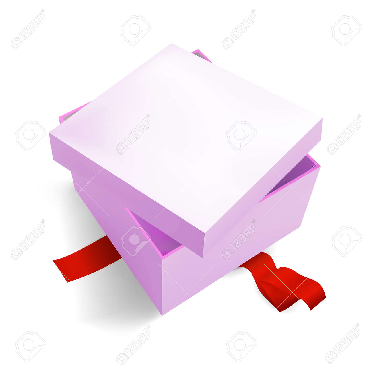 Pink Gift Box 3D, isometric realistic colorful with red Ribbon for Birthday Celebration, Christmas, Party, Holiday. Object isolated on white background. Vector Illustration Eps 10. - 158932668