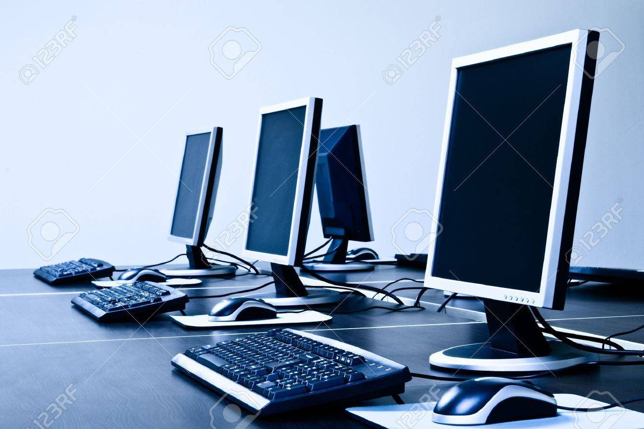 Computers With LCD Screens Blue Toned Stock Photo, Picture And ...