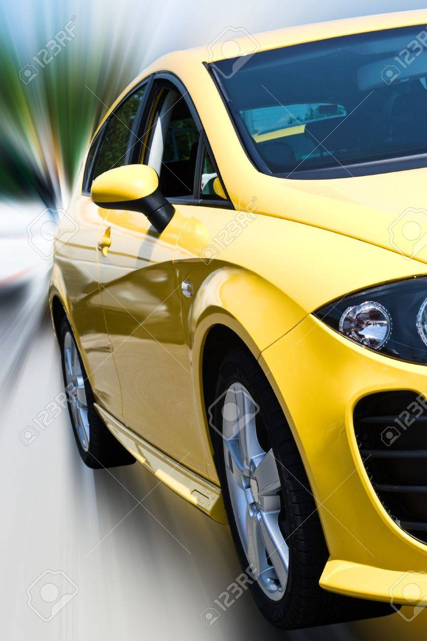 yellow car isloated with clipping path Stock Photo - 9237967