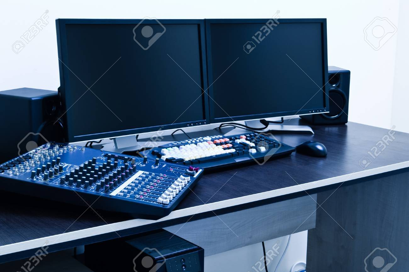 broadcast editing station blue toned - 9786732