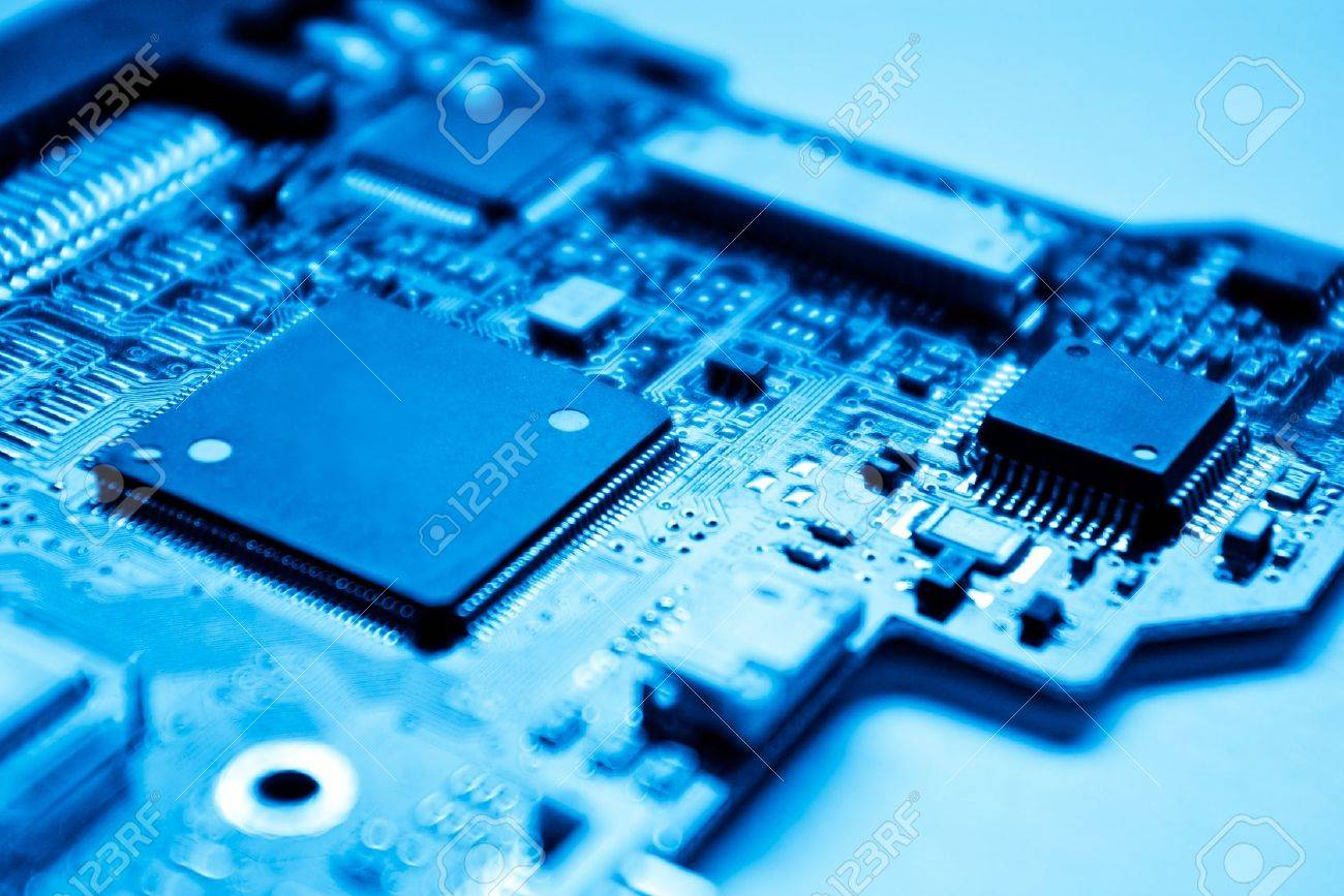 electronic circuit with shallow depth of field - blue toned - 10296331