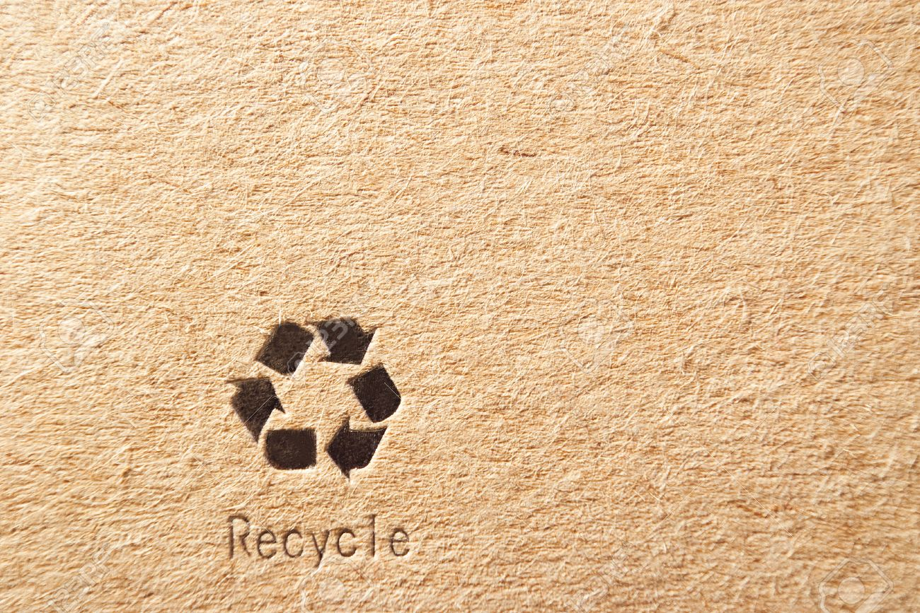 cardboard box background with recycle symbol - 13146749