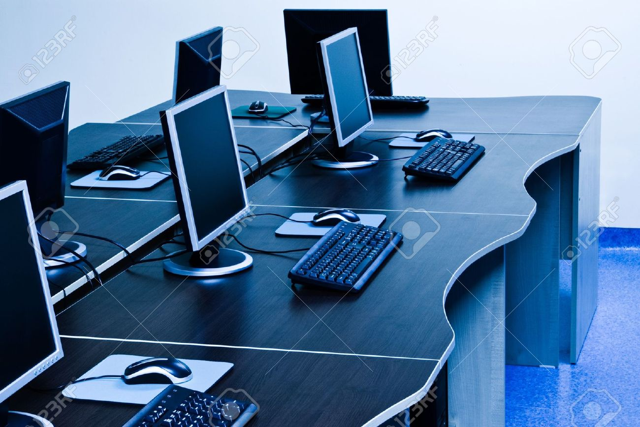 Computers With LCD Screens In IT Office Stock Photo, Picture And ...