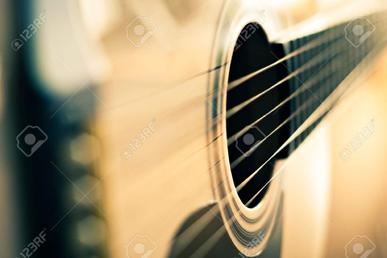 detail of classic guitar with shallow depth of field - 13319912