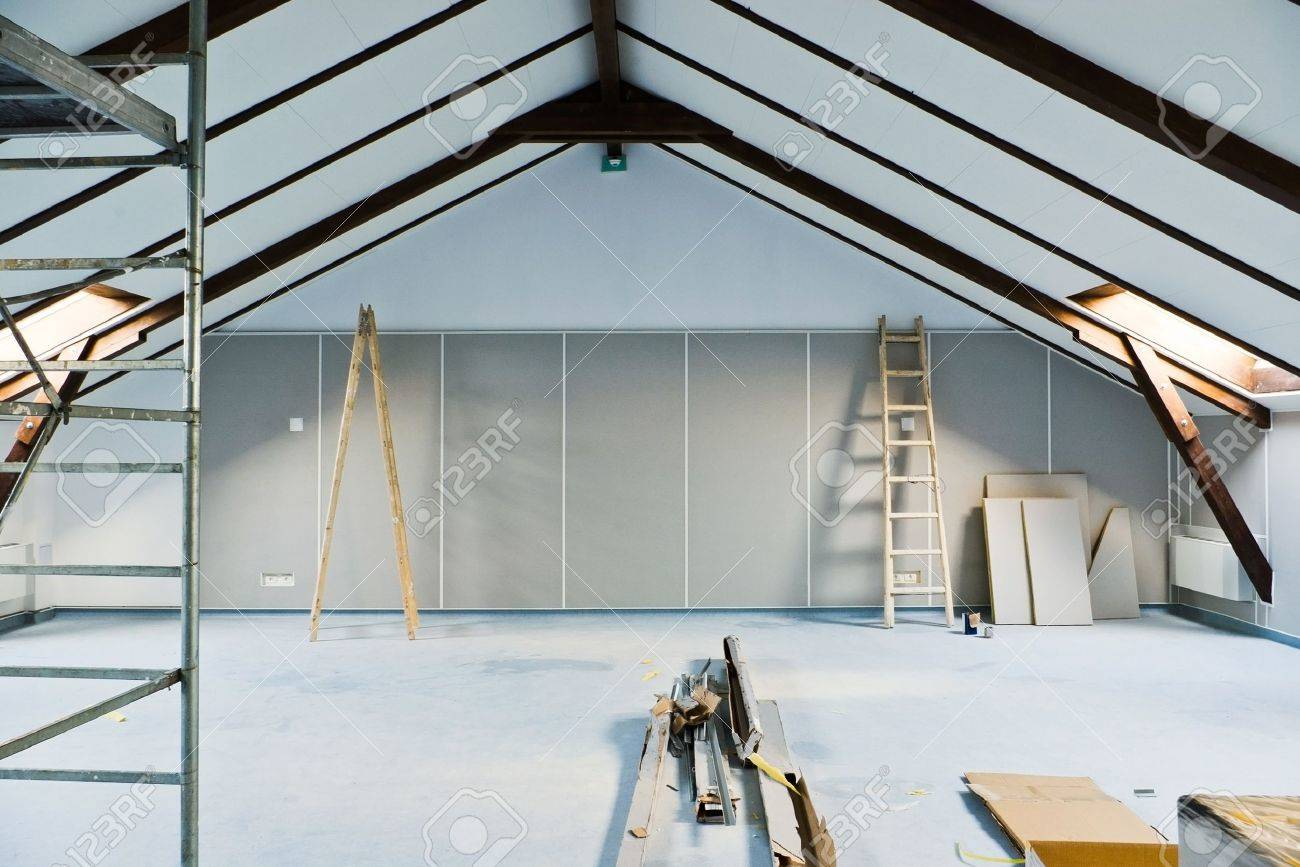 attic renovations with ladder and gray walls - 13386009