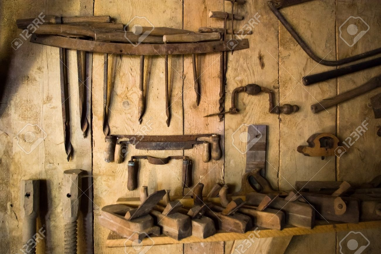 Very Old Rusty Woodworking Tools On Wall Stock Photo Picture And