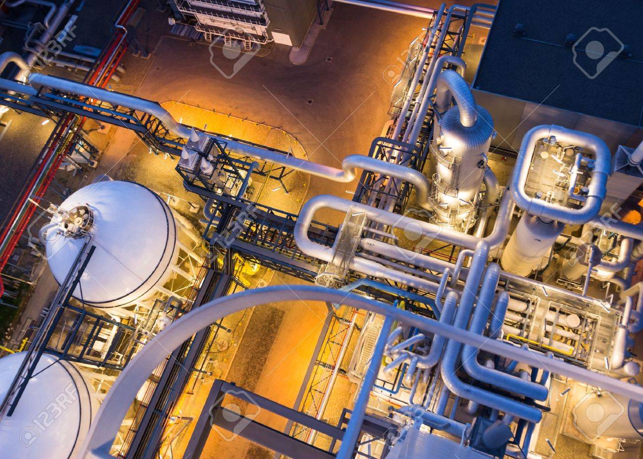 piping system in industrial plant from above - 20689429