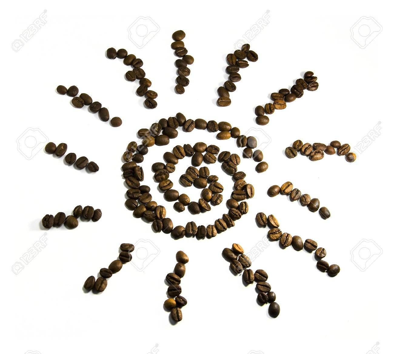sun symbol from coffee beans on a white background - 10016151