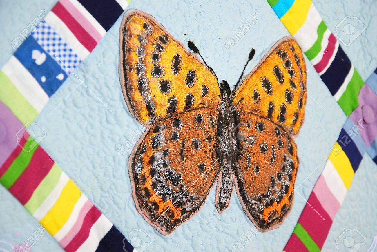 Patchwork quilt con las mariposas Foto de archivo - 10413930