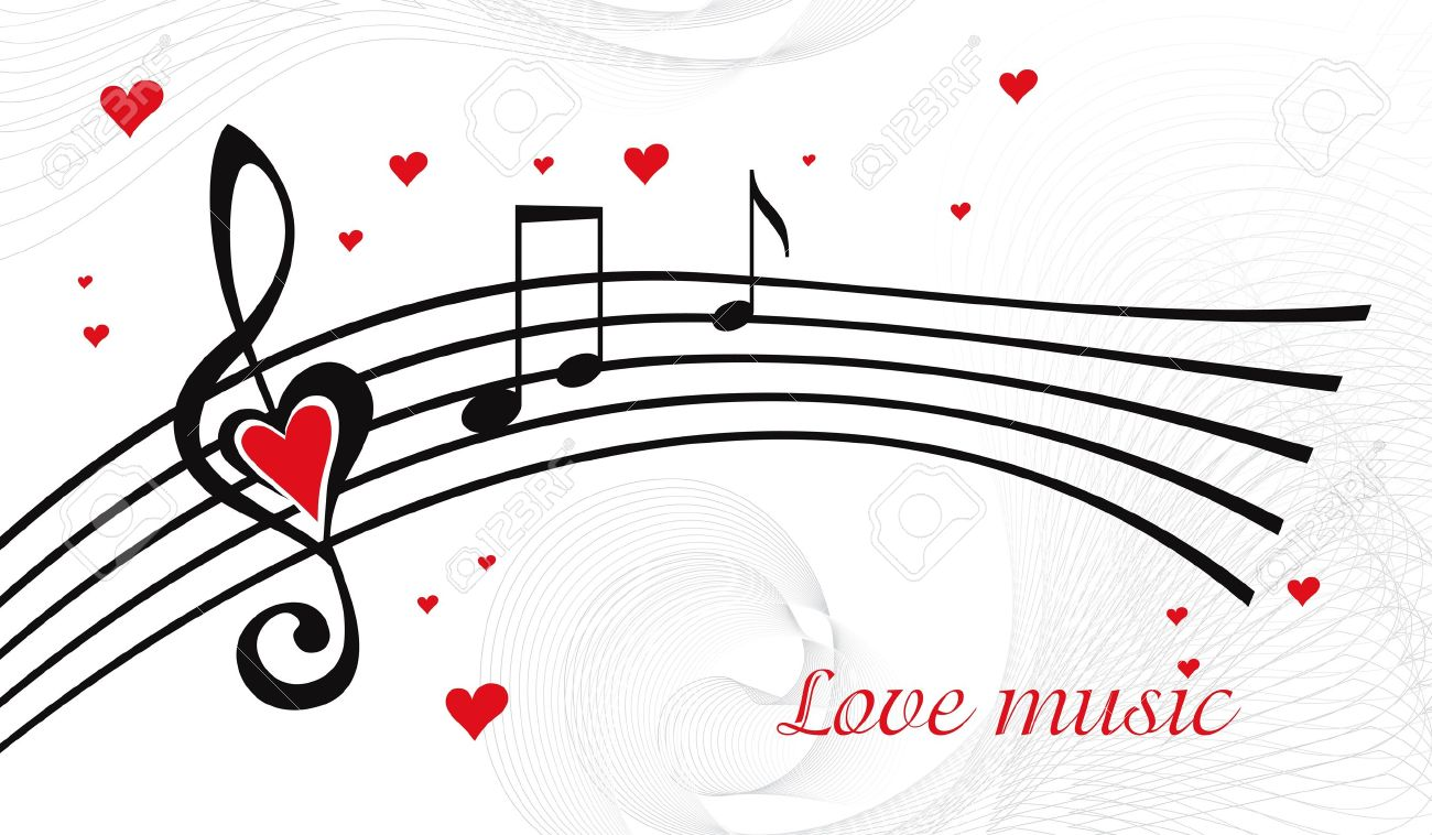 Vector black and white music background with treble clef of heart shaped - 11139190