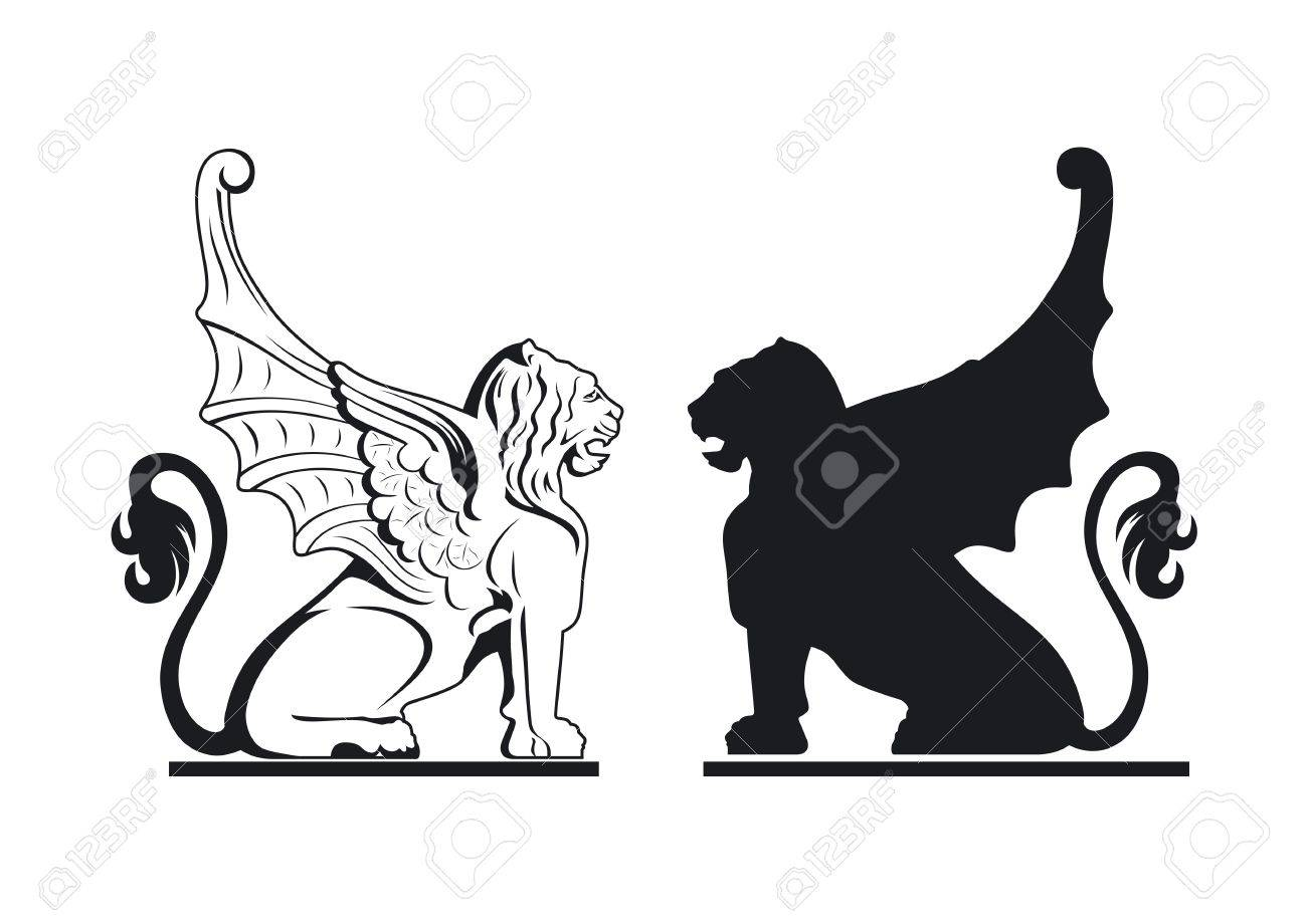 black and white griffin illustration - 13998489