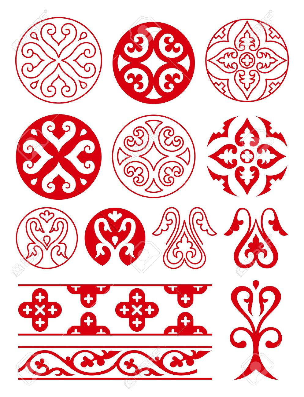 Floral ornaments of Ancient Russ. Vector tracery - 14600623