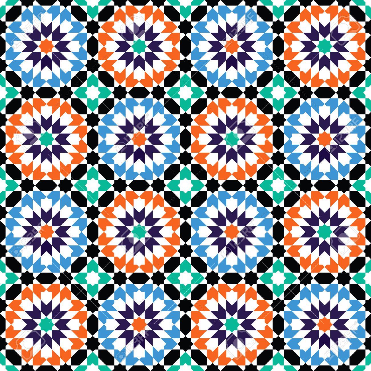 Moroccan style mosaic ornament. Seamless mosaic tile pattern - 37387105